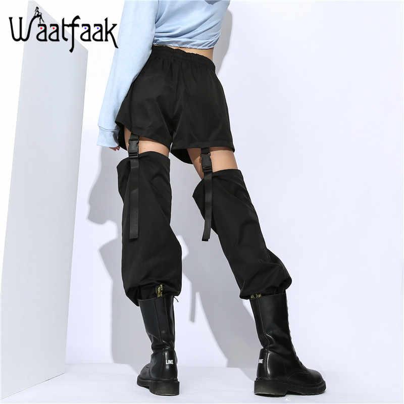 Waatfaak hebilla desmontable ahueca hacia fuera pantalones Harem cintura alta cordón dobladillo suelto negro pantalones mujeres Streetwear bolsillos largos