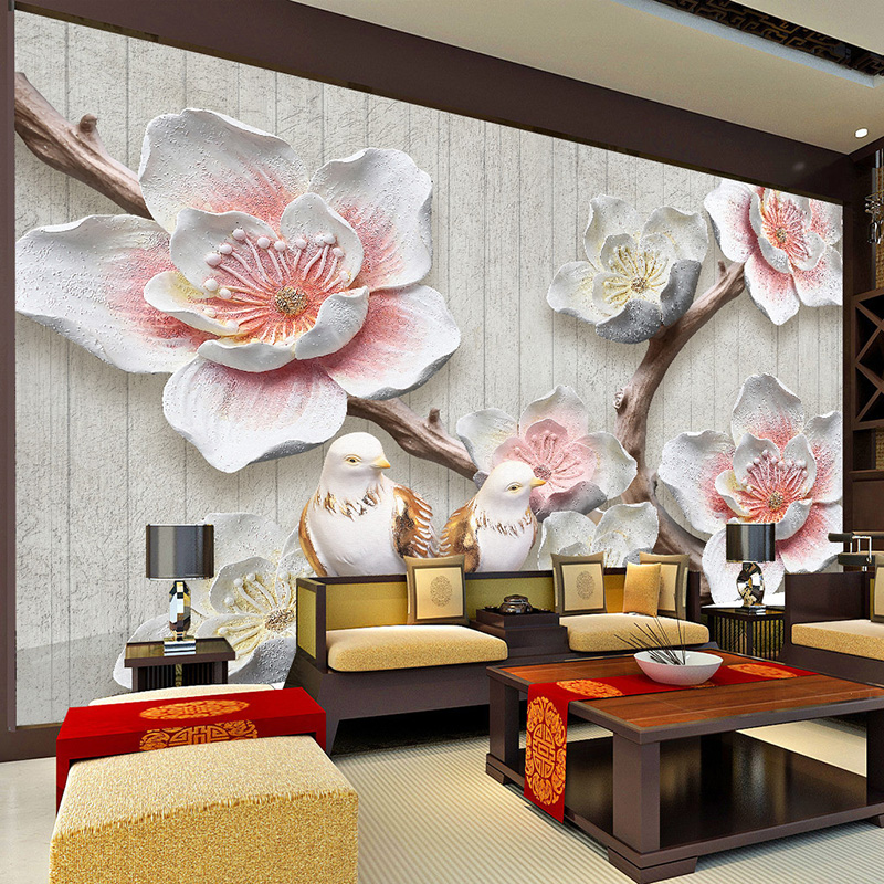 Custom Photo Wallpaper Chinese Style 3D Relief Plum Blossom Bird Photo Wall Mural Living Room Study Home Decor Wall Paper Murals 1897art large murals3d can be custom made furniture decorative wallpaper house ornamentation decor wall stickers chinese style