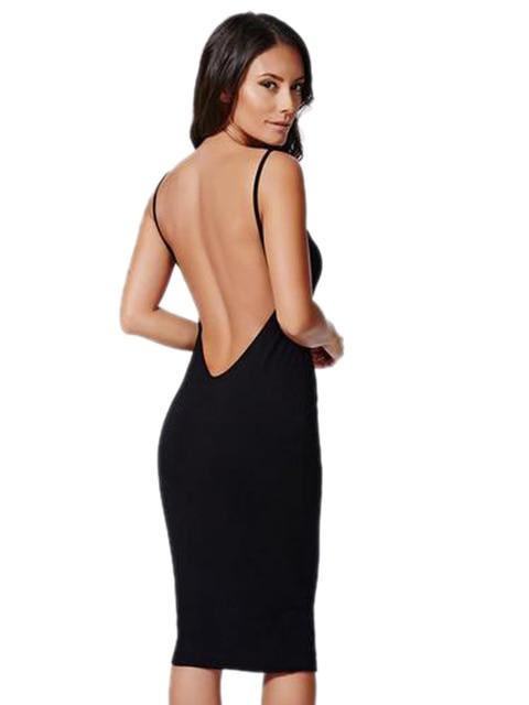 Sexy Backless Back Deep V Halter Strap Bodycon Dress Open Back Spaghetti  Strap Club Midi Pencil Dress 2016 Fashion Women New 8f5fd498d
