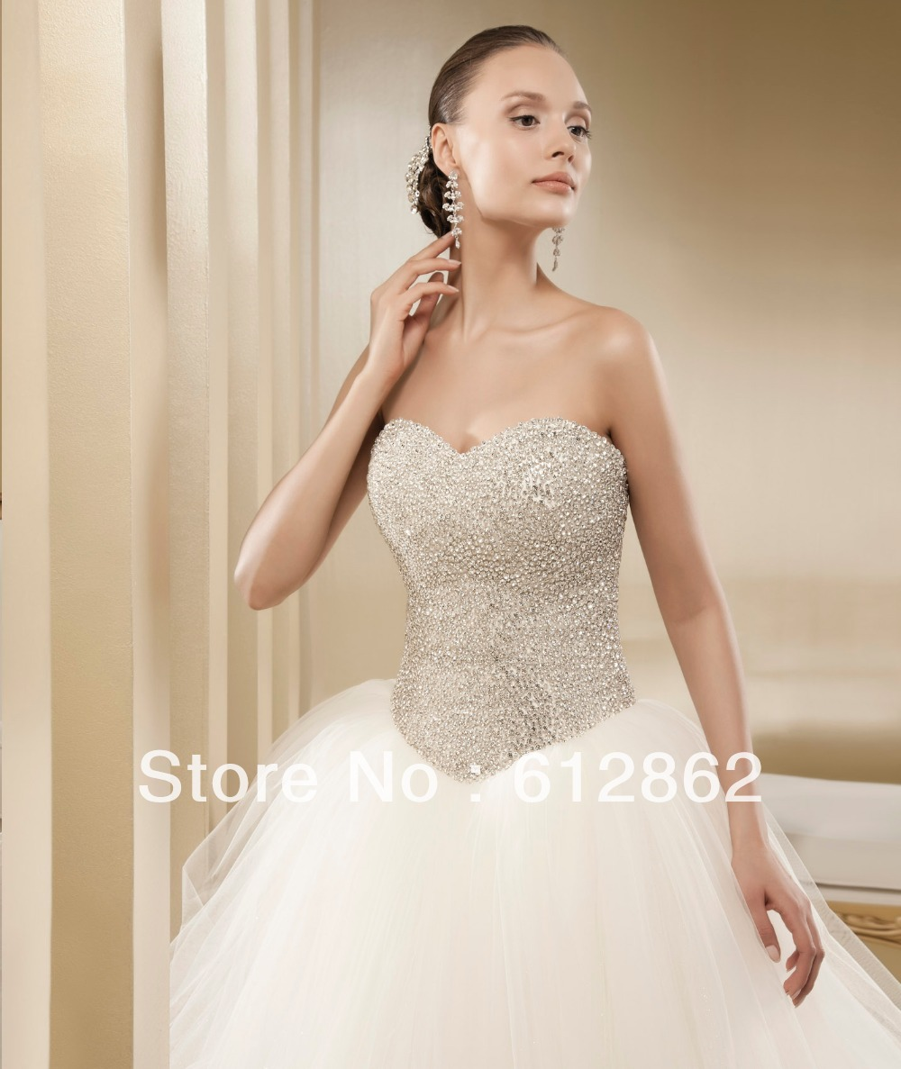 836092dde495 Strapless Sweetheart Crystals Beaded Bodice Tulle Skirt Bling Wedding  Dresses Ball Gown-in Wedding Dresses from Weddings & Events on  Aliexpress.com ...