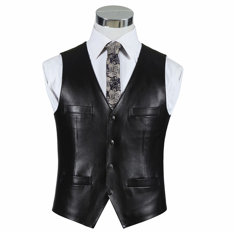 Reasonable Bonjean Mens Genuine Leather Vest Slim Commercial Sheepskin Leather Vest High Quality Gentlemen Waistcoat Drop Shipping To Be Renowned Both At Home And Abroad For Exquisite Workmanship Vests & Waistcoats Jackets & Coats Skillful Knitting And Elegant Design