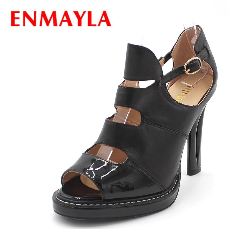 ENMAYLA Nyári Gladiator szandál Női Melltartó Magassarkú Magassarkú Cipő Cipő Női Furcsa Magassarkú Buckle Party Office Lady Shoes