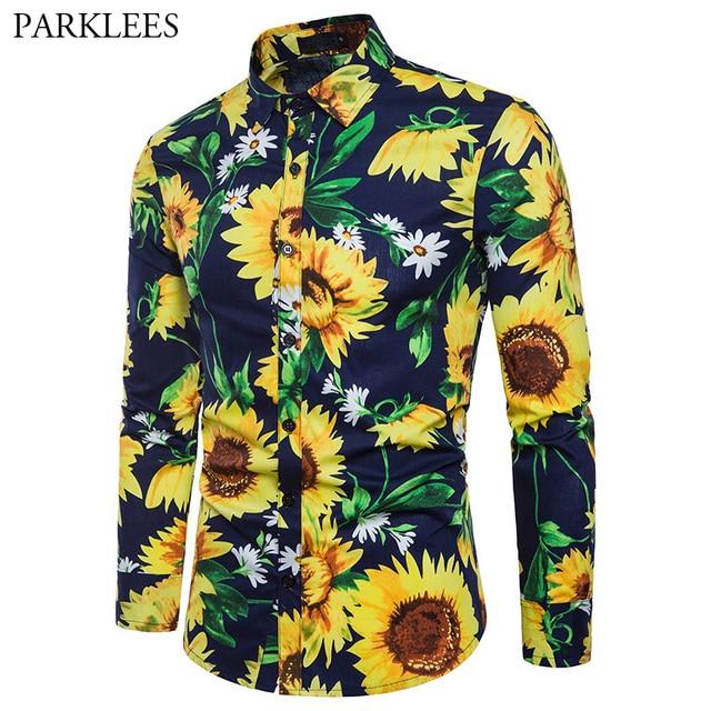 e1f219080dea9a Mens Casual Button Down Dress Shirts 2018 Autumn New Sunflower Floral Print  Shirt Men Party Hawaiian