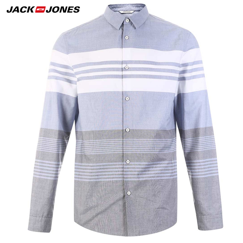 Jack Jones Spring And Summer Men Cotton Stripe Casual Shirt | 218405502
