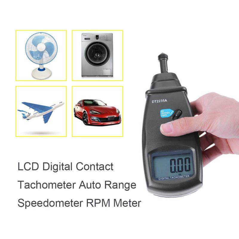 Digital Contact Tachometer 0.5 to 19999RPM LCD Auto Range Electronic Speedometer RPM Meter Speed Measuring Instruments DT2235A laser type tachometer portable digital tachometer