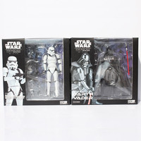 2pcs Set Star Wars Revoltech Darth Vader 001 Stormtrooper 002 PVC Action Figures Model Toys 16cm