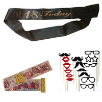 Sweet 18 Years Old Birthday Party Decoration 18th Birthday Party Sash Black Satin Sash With Gold