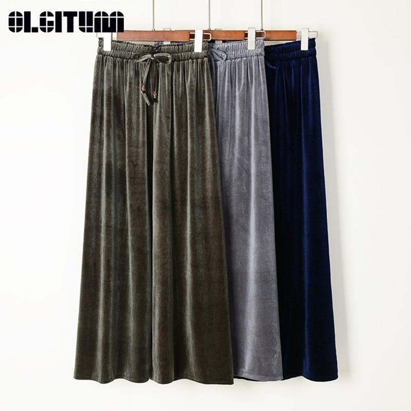 New 2019 Spring Autumn Women Gold Velvet   Wide     Leg     Pants   High Waist Drawstring Solid Casual Loose Soft Women Trousers   Pants
