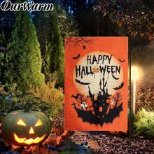 OurWarm Horrible Halloween Garden Flag Welcome Sign Hanging Banner Double-sided Printing Dress Up Party Home Lawn Decor