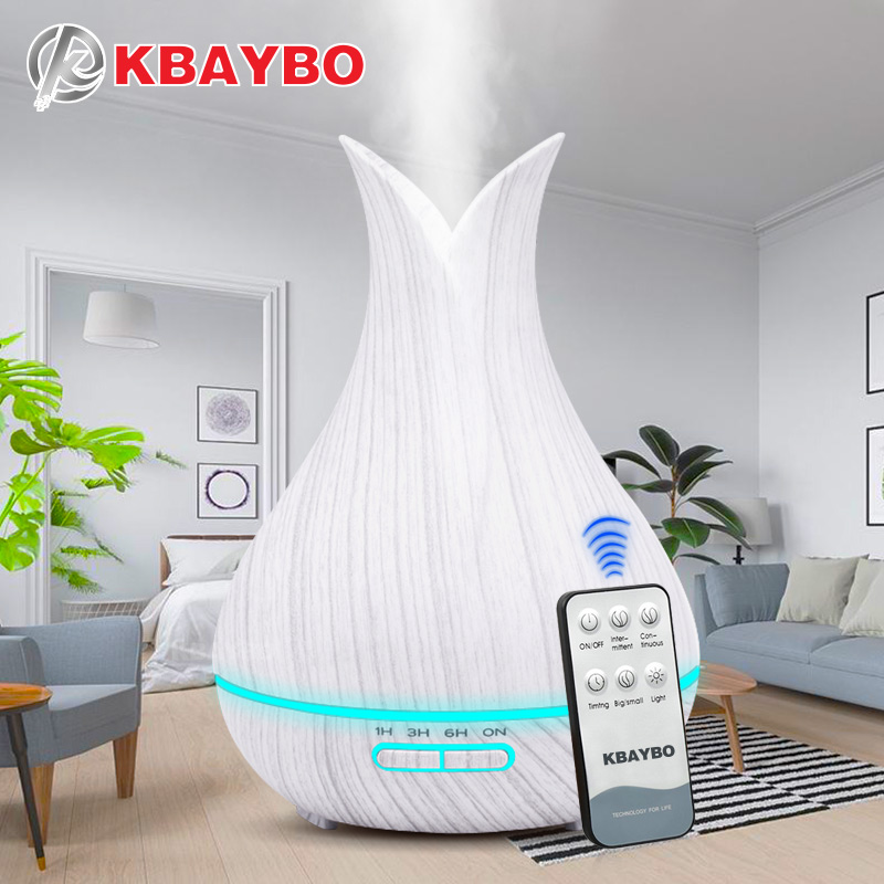 400 ML Ultrasonic Controle Remoto Grão de Madeira Aromaterapia Aroma do Óleo Essencial Difusor Umidificador para Casa Bebe