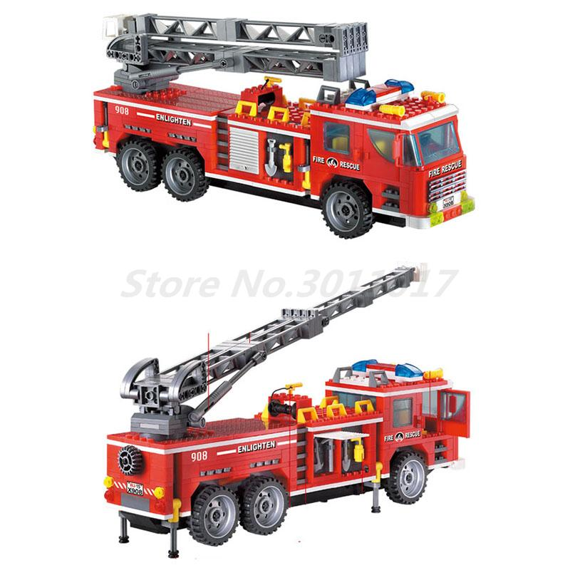 Enlighten 908 City Police Fire Rescue Truck Fireman Figure Building Blocks Bricks Educational Toy For Kids Christmas Gift