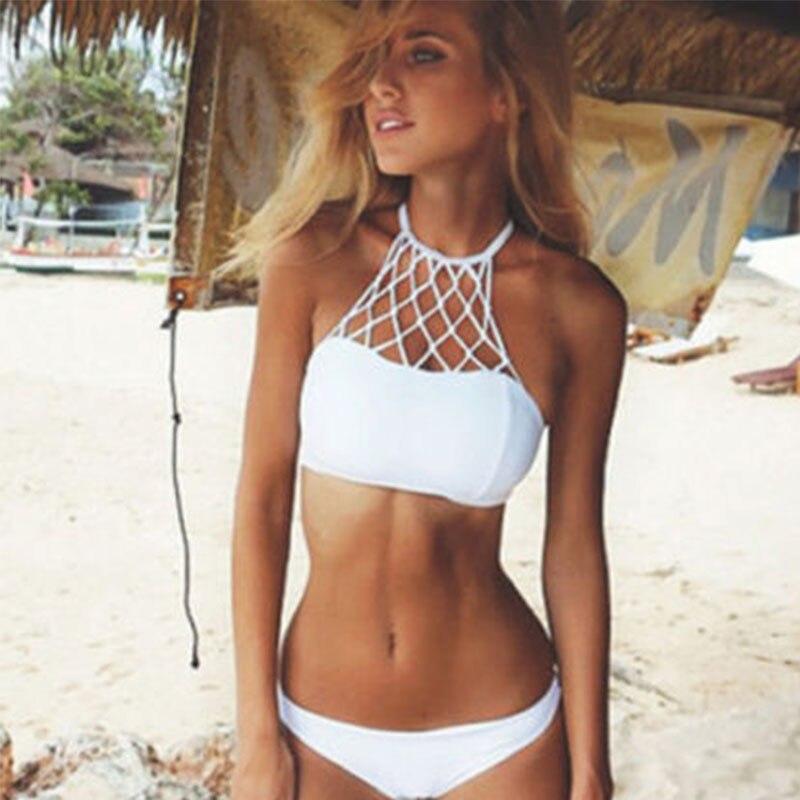 sexy crochet bikini white halter bikini crochet swimwear size adjustable crochet swimsuit strappy bathing suit Brazilian Bikini 1