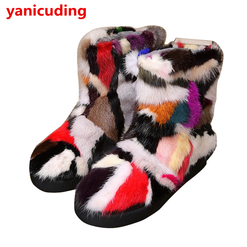 Round Toe Rainbow Colorful At Random Snow Boots Short Booties Flats Fashion Shoes Fur Warm Winter Women Shoes Chaussures Femmes snow fur slip on fashion round toe winter boots women ankle flat shoes celebrity gray bow booties chinese female short new