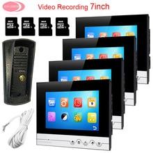 "Big sale For 4 Apartments 7 "" Intercom Video Intercom With Recording 8GB TF Card Doorphone Monitor Night Vision Metal Waterproof Camera"