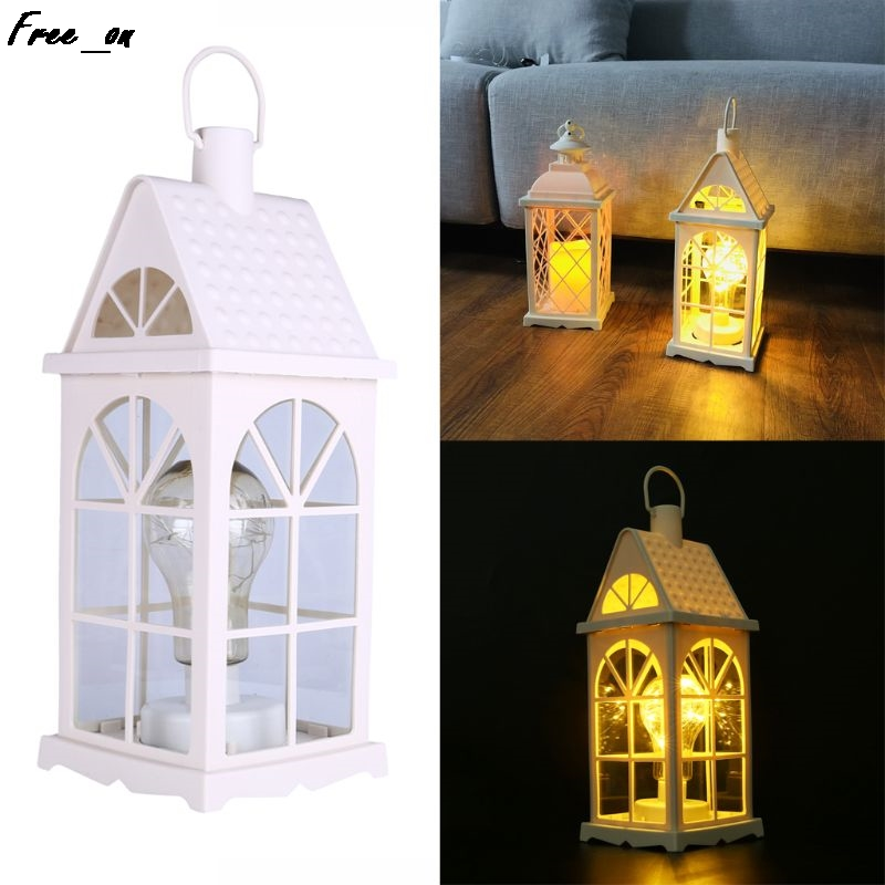 "14"" Tall Decorative Bulb Lantern 10-LED Copper Wire String Light Hanging Lamp For Courtyard"