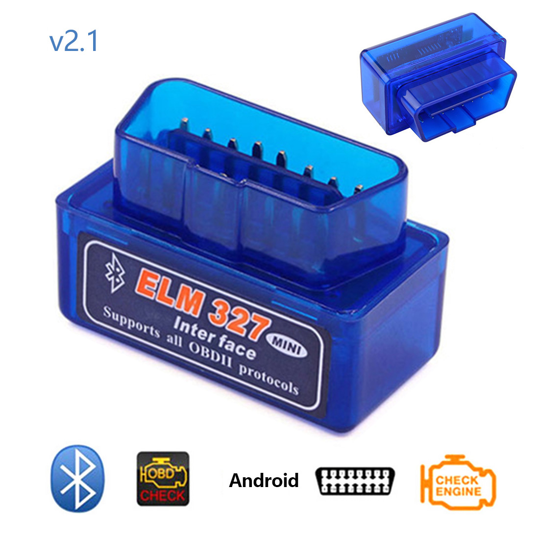 Dewtreetali Auto Diagnose Werkzeug <font><b>ELM327</b></font> <font><b>V2.1</b></font> <font><b>Bluetooth</b></font> 2,0 Interface OBD2 <font><b>Mini</b></font> ULME 327 für Android Drehmoment/PC <font><b>v2.1</b></font> BT adapter image