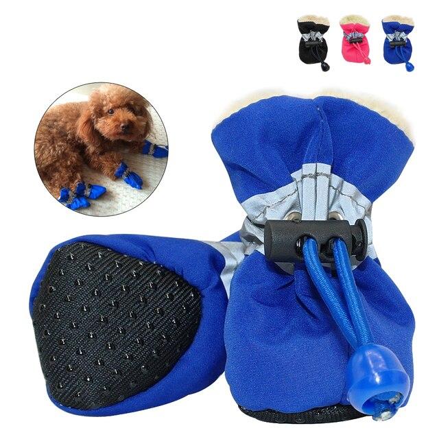 f1f4239522b9af 4 sztuk Wodoodporny Dog Buty Odblaskowe Anti Slip Kalosze Regulowany Ciepłe  Skarpety Zimowe Sneaker Paw Protector