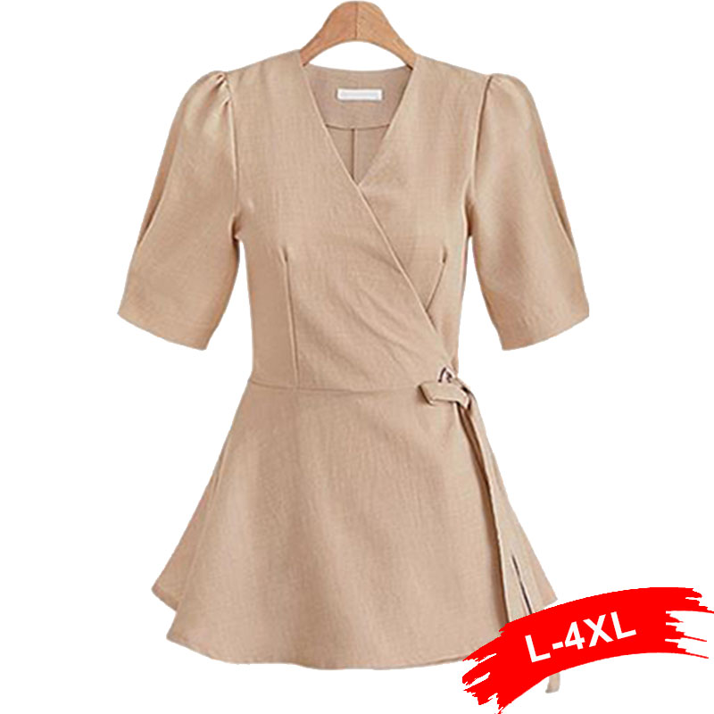 Plus Size Cross Wrap V Neck Tunic   Blouse     Shirt   3XL 4XL Office Lady Work Wear Short Sleeve Summer Sash Bow Tie Sexy Blusas Female