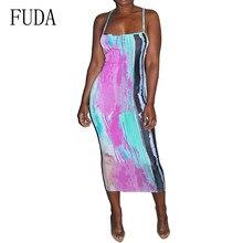 FUDA Spaghetti Strap Sleeveless Vintage Dress Elegant Tie Dyeing Printed Bodycon Slim Summer Hollow Out Retro Dresses