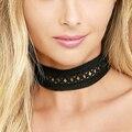 2016 Moda de encaje negro gargantilla collar de las mujeres collar de encaje transversal cuerpo cadena de la vendimia collares joyería del partido collier femme C814