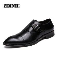 ZIMNIE zapatos de vestir para hombre, calzado Formal de trabajo de negocios, zapatos de punta estrecha de cuero genuino suave, planos Oxford, talla 38 47