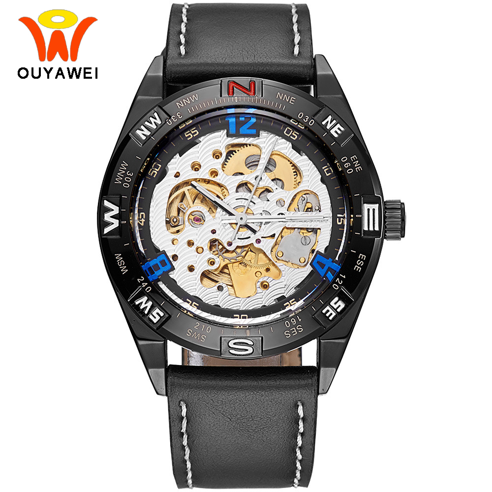 Ouyawei 2017 Skeleton Automatic Mechanical Watch Men Genuine Black leahter Self Winding Sport Mechanical Wrist Watches 5 Colors ouyawei 1039 bg men s casual skeleton auto mechanical wrist watch black golden
