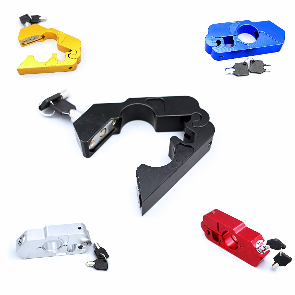NEW CNC Motorbike Lock Scooter Bike Handlebar Security Safety Lock Brake Throttle Grip Protection  Rubber Adapters Popular Ype