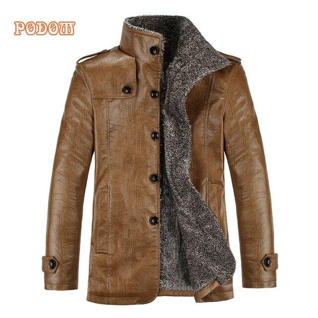 Hommes Hommes Hommes Mâle Veste Vintage Polaire En Cuir Cuir Cuir Vestes Pu Manteau Hiver PFq4Rx