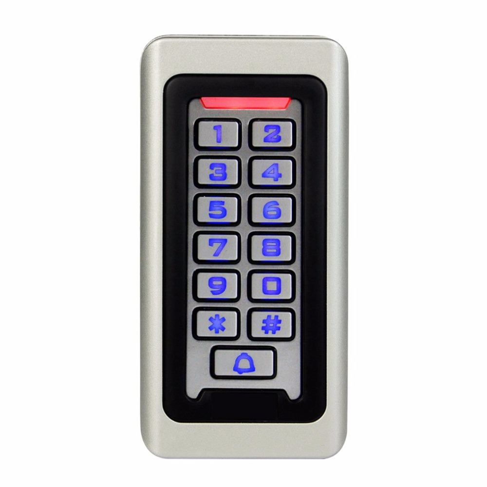 LESHP Waterproof Metal Case Keypad For RFID Proximity Card Standalone Access Control& 2000 Users For Outdoor & Indoor Silver rfid proximity 125khz em card reader led keypad standalone 2000 users door access control waterproof metal case