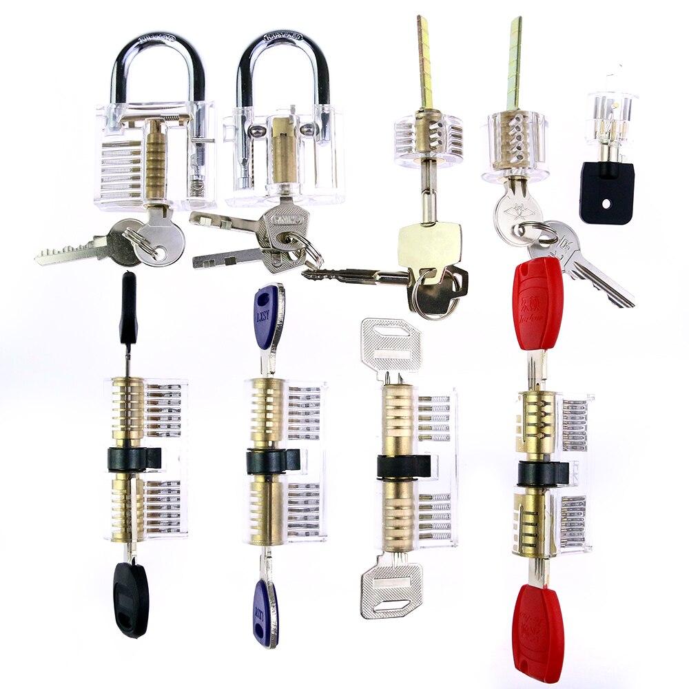 Serrurier outil de Crochetage ensemble 9 Différents Transparent Coupe Cristal serrure + 9 pcs crochetage tool set pour CADEAU pour Pratiquer compétences