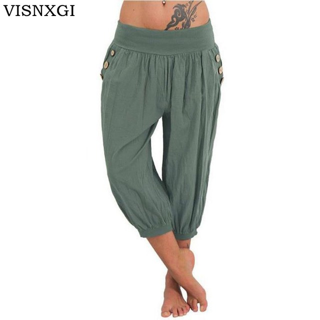 cca0f4e6d3b0d VISNXGI Women s Cotton Linen Pants Plus Size 5XL Casual Calf-Length Harem  Pants Elastic Waist Summer Sporting Loose Trousers New