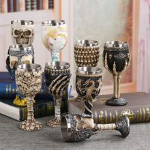 Hot Sale Resin Stainless Steel Dragon Skull Goblet Retro Claw Wine Glass Cocktail Glasses Whiskey Cup Party Bar Drinkware