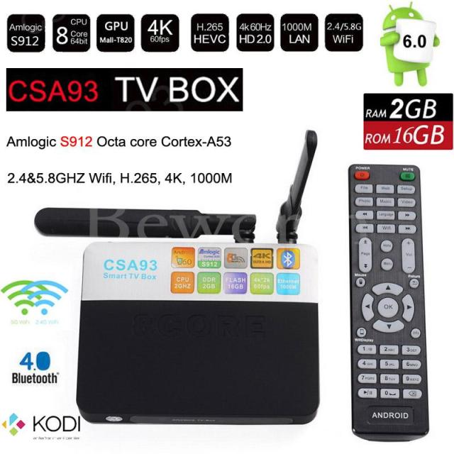 CSA93 Amlogic S912 Octa core Android 6.0 TV Box 2 GB RAM 16 GB BT4.0 2.4/5.8G Dual WiFi 1000 M LAN 4 K H.265 IPTV Media Player CS918
