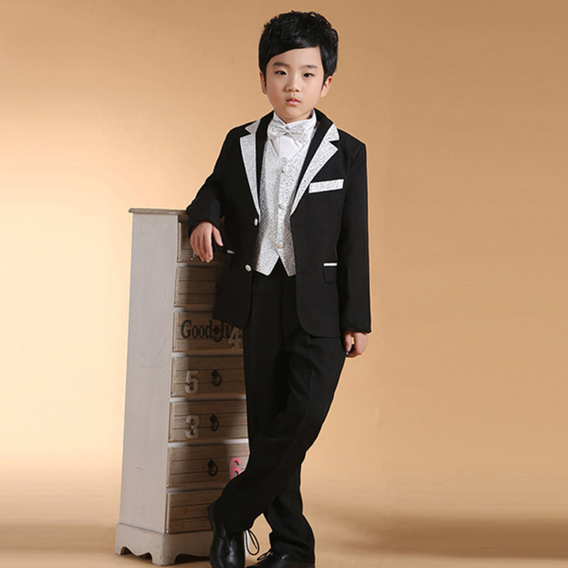 5pcs/Set Boys Suits For Weddings Kids Boy Suits Set Long Black Blazers Suits Boys Formal Clothing Set Children Formal Prom Dress