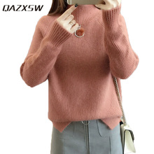 QAZXSW 2019 New Spring Women Sweater Pullover Long Sleeve Harajuku  Turtleneck Jumper Casual Teenager Girl Knitted 123bcd136