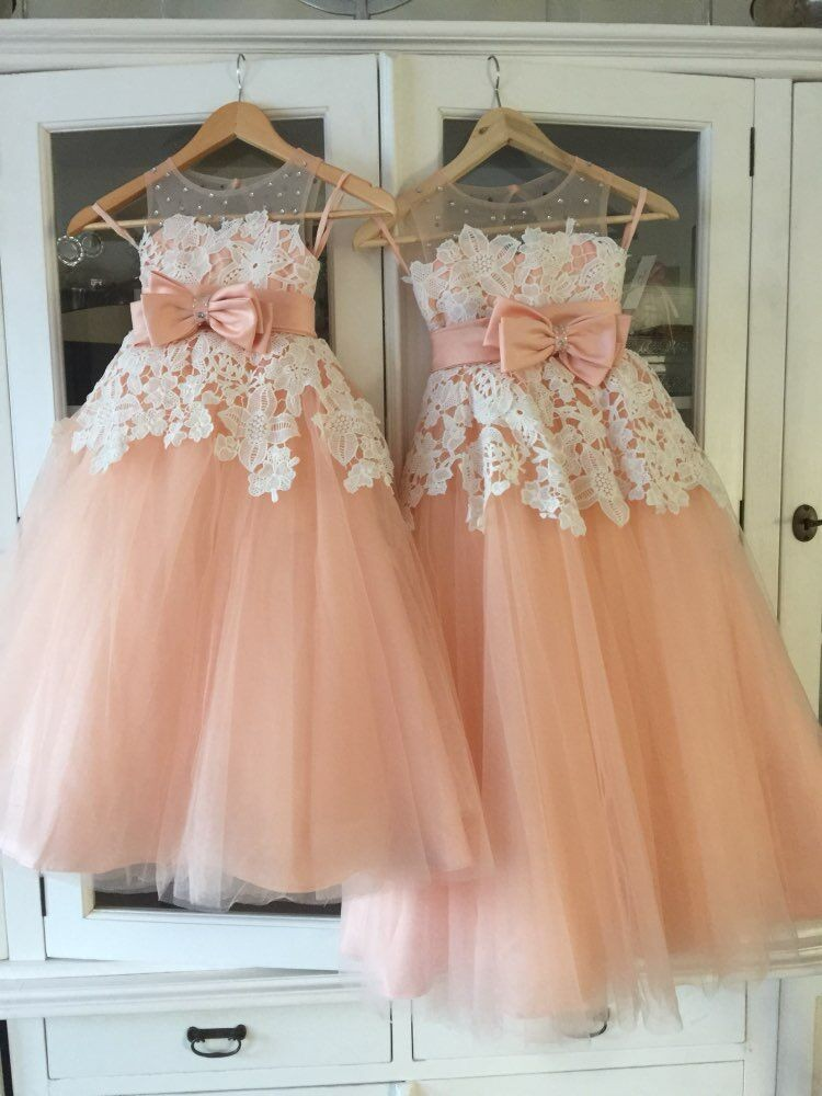 A-Line Lace   Flower     Girl     Dresses   Floor Length Scoop Neck First Communion   Dresses   Gown for Wedding Party