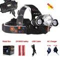 3T6  Use 3 X C-XML T6 LED Headlamp Flashlight 6000 Lumens Rechargealbe Head Lamp + Charger + 2 X 18650 Batteries