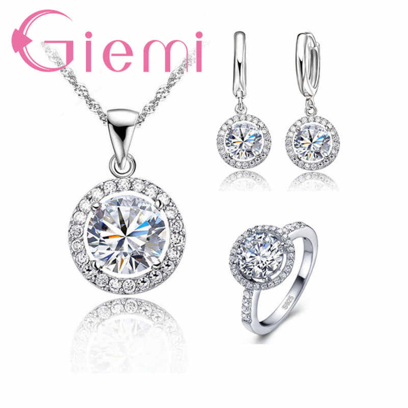 a068ab140e Classic Clear 5A Cubic Zirconia Stone Pendant Necklace Huggie Earrings  Finger Ring 925 Sterling Silver Bridal