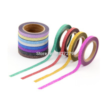 купить New 12x 5mm*6.5m hot sale glitter washy tape scrapooking decor glitter tape sticky craft adhesive paper tape по цене 296.54 рублей