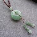 Natural Green Dongling Jade Peace Buckle Jade Pendant Beads Necklace Pendant Beautiful Sweater Chain Jade Jewelry