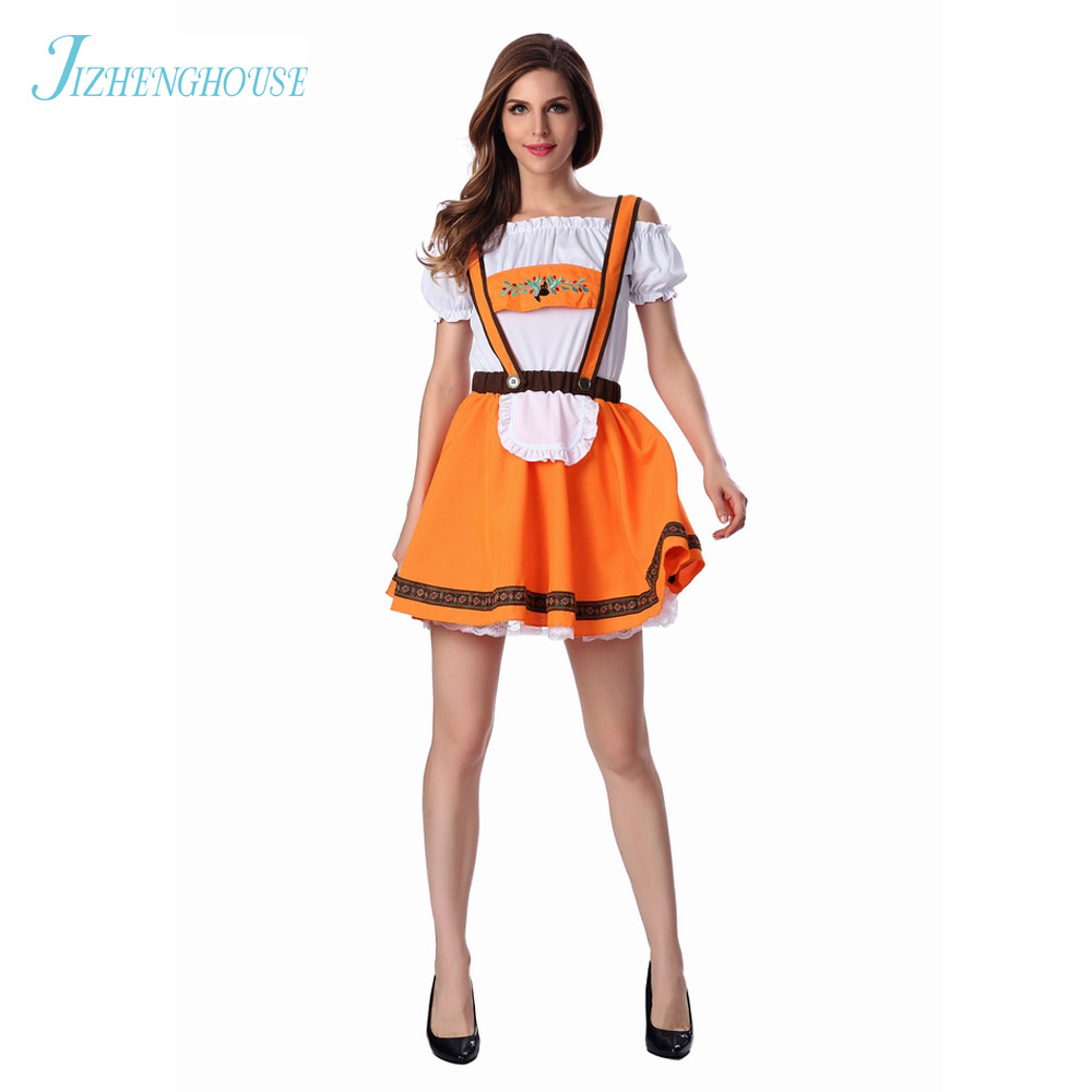 JIZHENGHOUSE Womens Oktoberfest Halloweeen Outfit Party Sexy Cute Girl Beer Lady Costume Dress