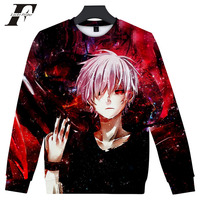 LUCKYFRIDAYF 2018 hit hop Tokyo Ghoul 3D printed oversized hoodies sweatshirts men Capless tracksuit Long Sleeves Anime clothes