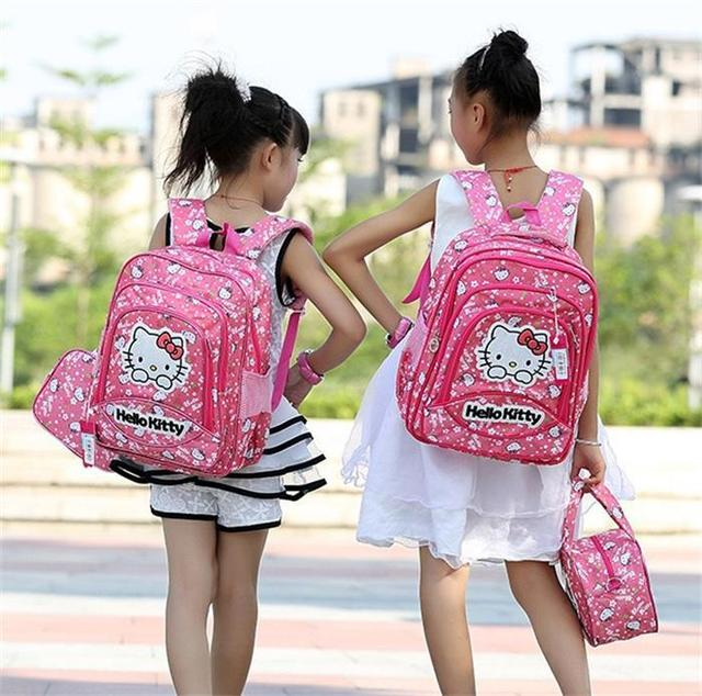92fa03d16e School Bags children students hello kitty Backpacks from age 6-14 girls  lovely school bag wholesale