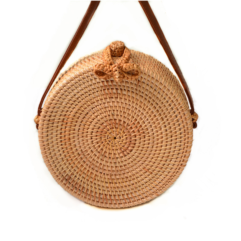 18 Round Straw Bags Women Summer Rattan Bag Handmade Woven Beach Cross Body Bag Circle Bohemia Handbag Bali 17