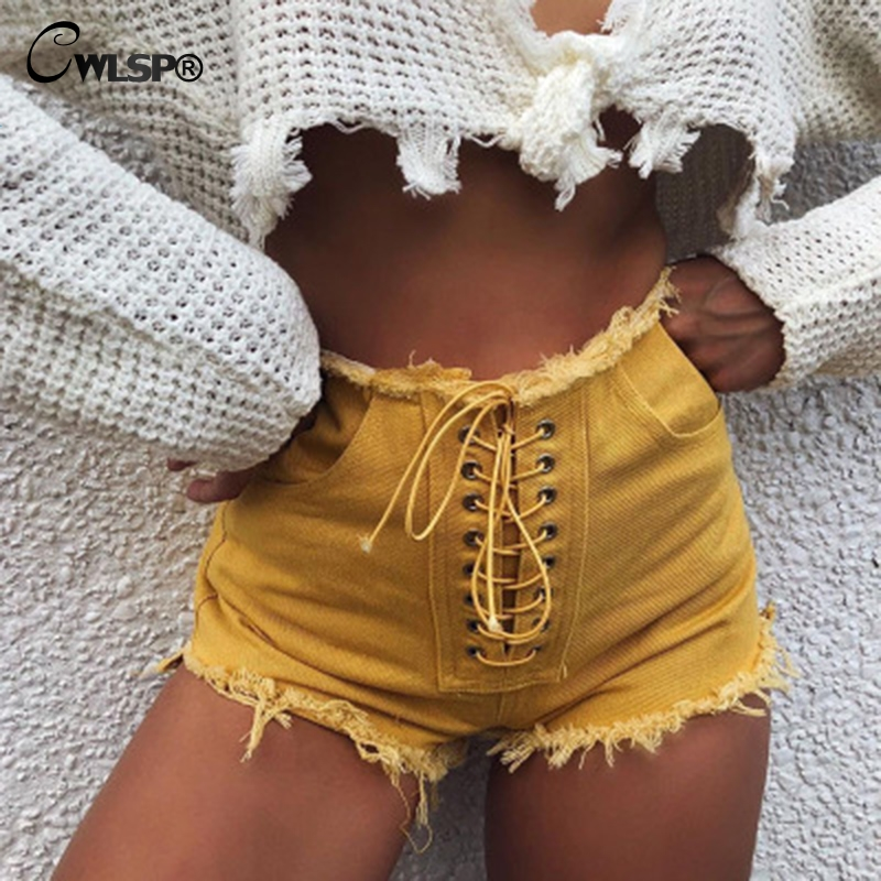 CWLSP 2018 Solid Yellow Cotton Jeans Shorts For Women Summer Sexy Lace Up Denim Tassel Hot Shorts With Pocket QZ2788