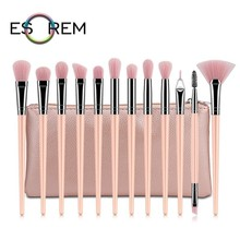 ESOREM 12/13 Pcs Pale Pink Handle Makeup Brushes With Bag Dual Eyebrow Brush Small Stippling Precision Shader Pincel Maquiagem