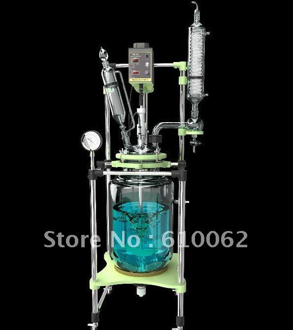10L Explosion Proof Motor Jacket Chemical Reactor, double-neck Glass Reaction Vessel, borosilicate glass reactor stirring motor driven single deck chemical reactor 20l glass reaction vessel with water bath 220v 110v with reflux flask