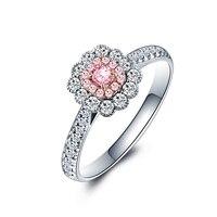 Luxury 18K Gold And White Gold Pink Diamond Ring Genuine Female Customized Roses