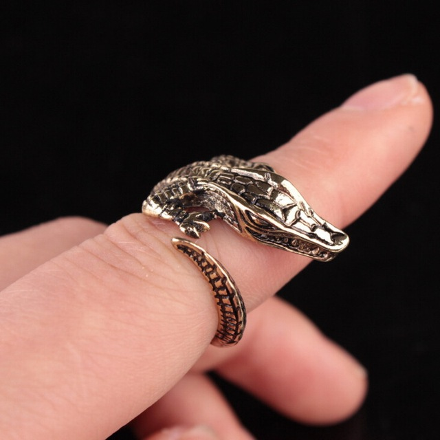Kittenup New Fashion Crocodile Rings For Women Men Animal Jewelry in Gold Silver