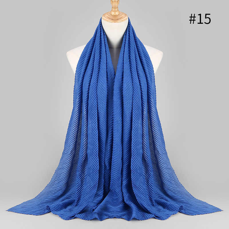 Женский плиссированный Макси хиджаб шарф элегантный платок простой мусульманский хиджаб женские плиссированные шарфы шали Мягкий шарф 1 шт. 180x80 см 20 цветов